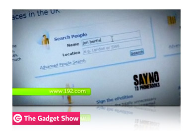 192.com featured on The Gadget Show